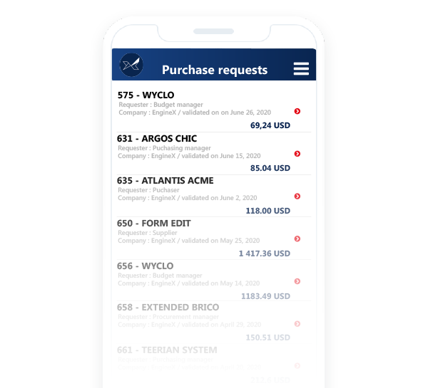 Purchase order tracking with the Oxalys mobile app
