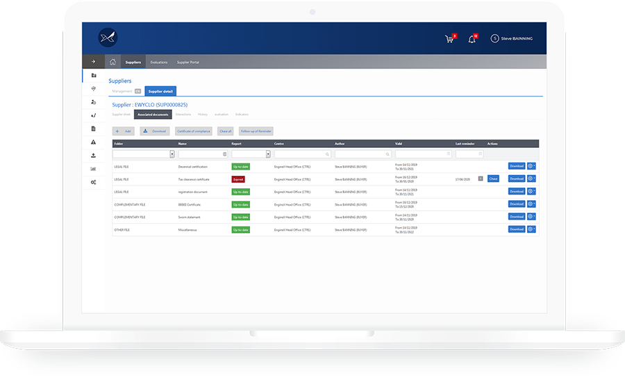 The Oxalys supplier management solution makes it easy to monitor your suppliers' compliance with legal or regulatory obligations.