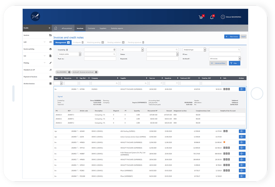 The Oxalys supplier invoice management software enables the digitalisation of supplier invoice processing